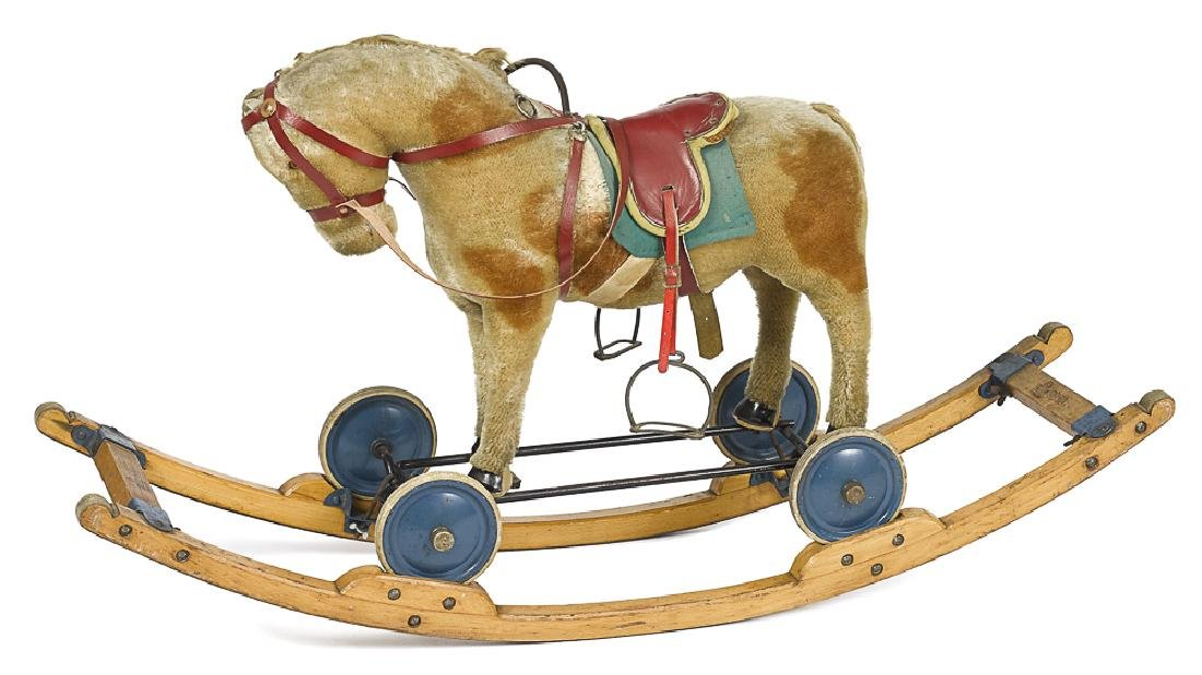 Steiff stuffed mohair rocking horse pull toy