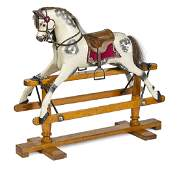 Child's painted and carved wood rocking horse