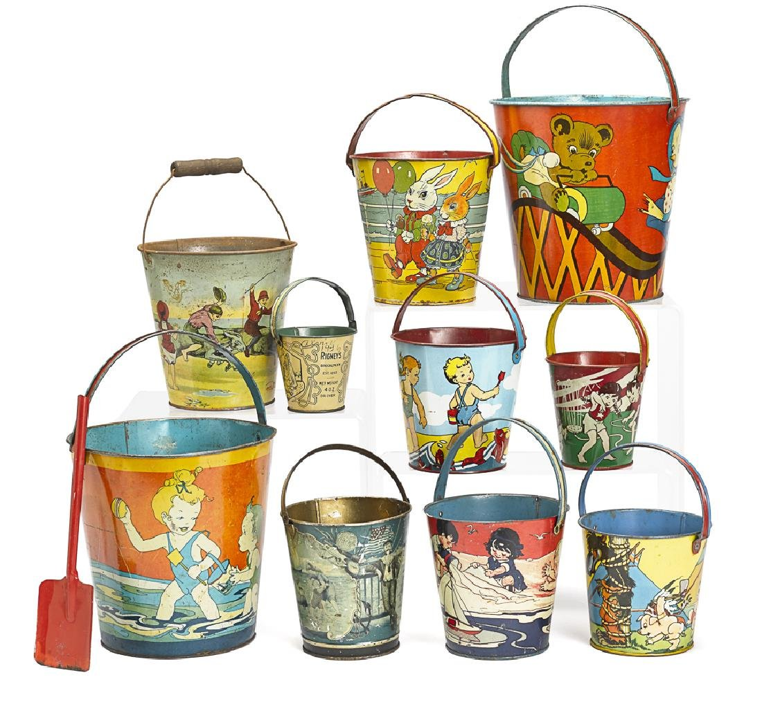 Collection of ten tin lithograph sand pails