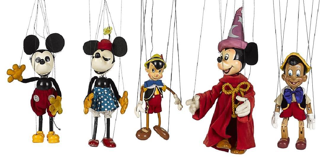 Five Bob Baker Disney puppet marionettes