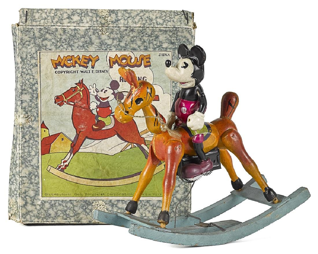 Celluloid Mickey Mouse on Rocking Horse wind-up
