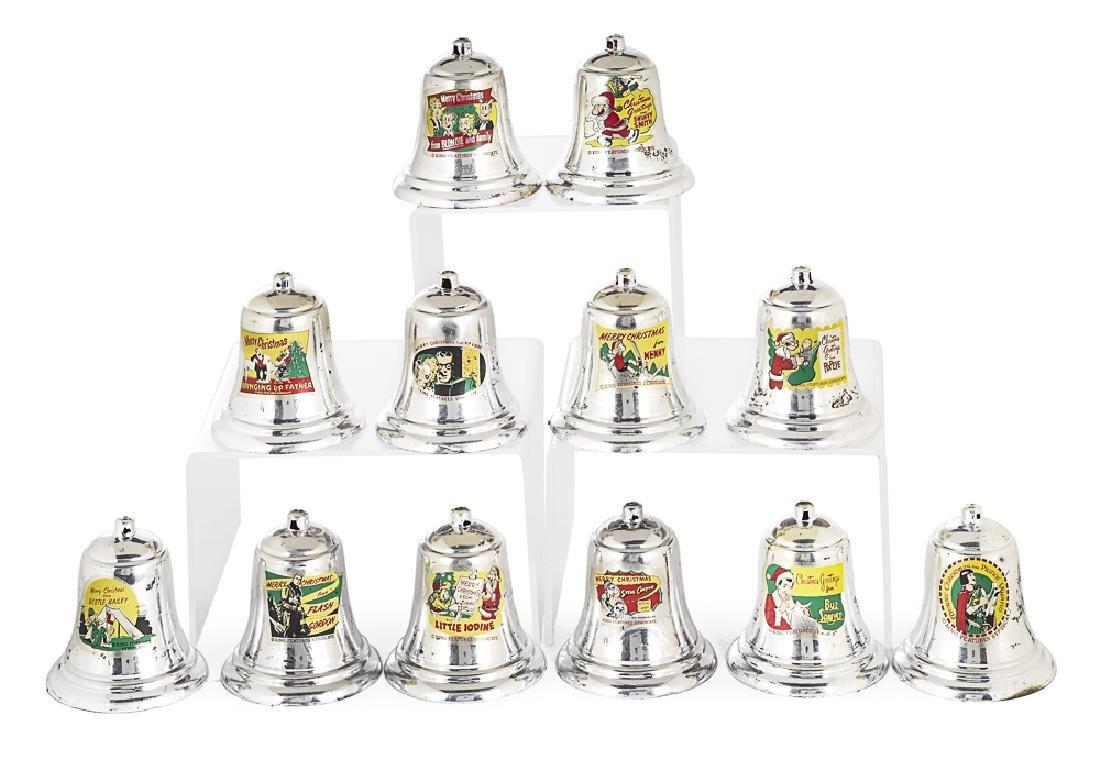 Set of twelve Christmas bell ornaments