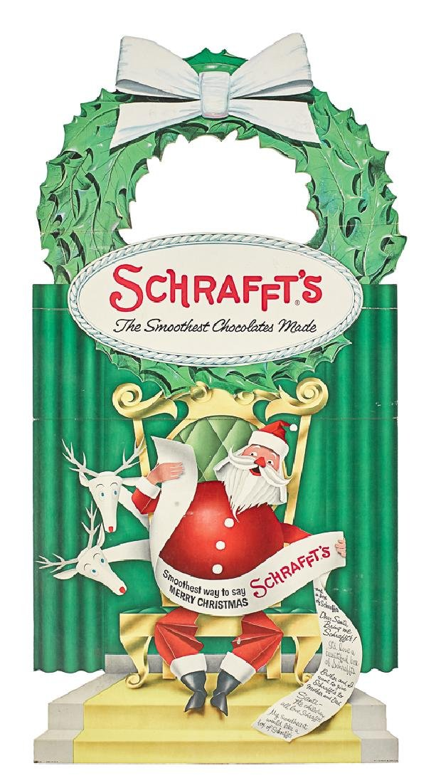 Schrafft's Chocolate Santa Claus stand-up sign