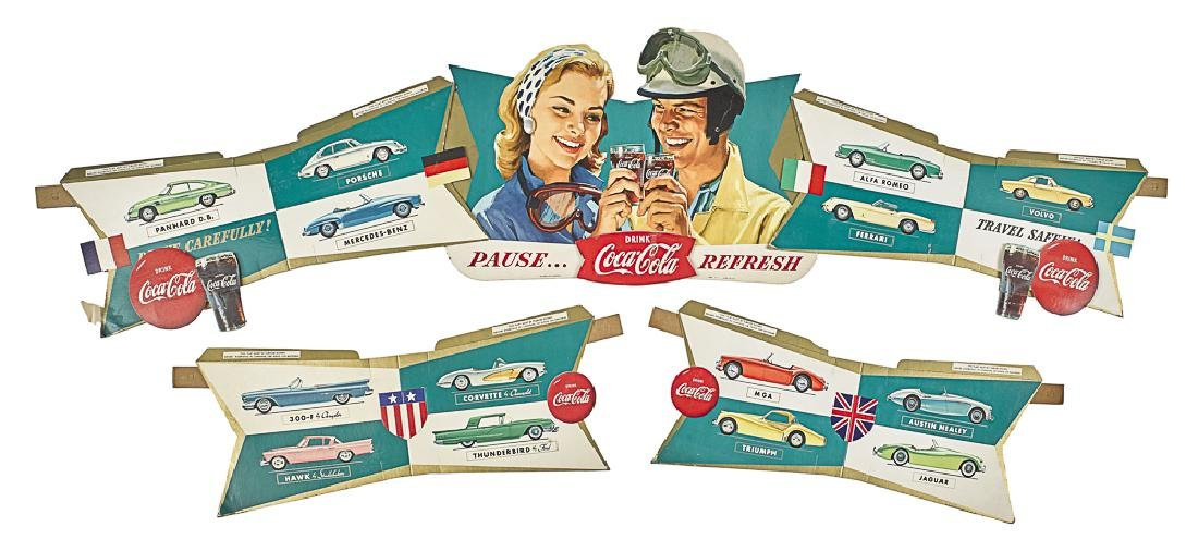 Cardboard Coca-Cola state sports car festoon