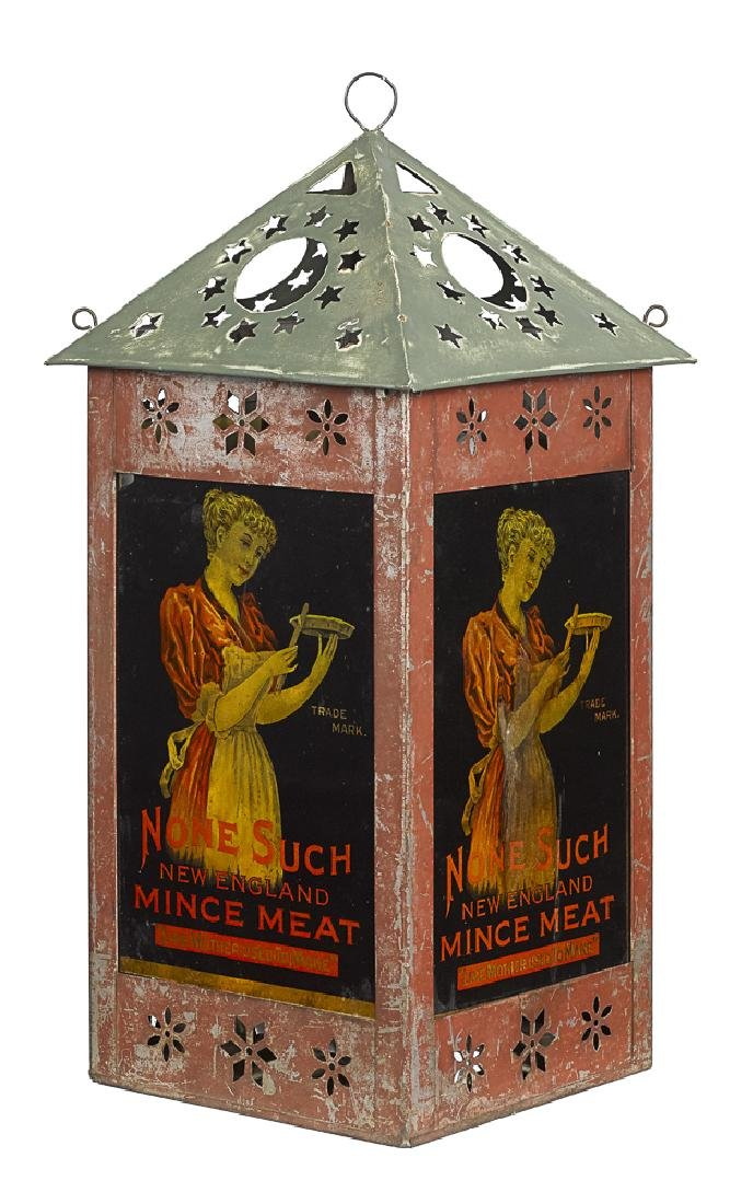 None Such Mince Meat painted tin and glass sign