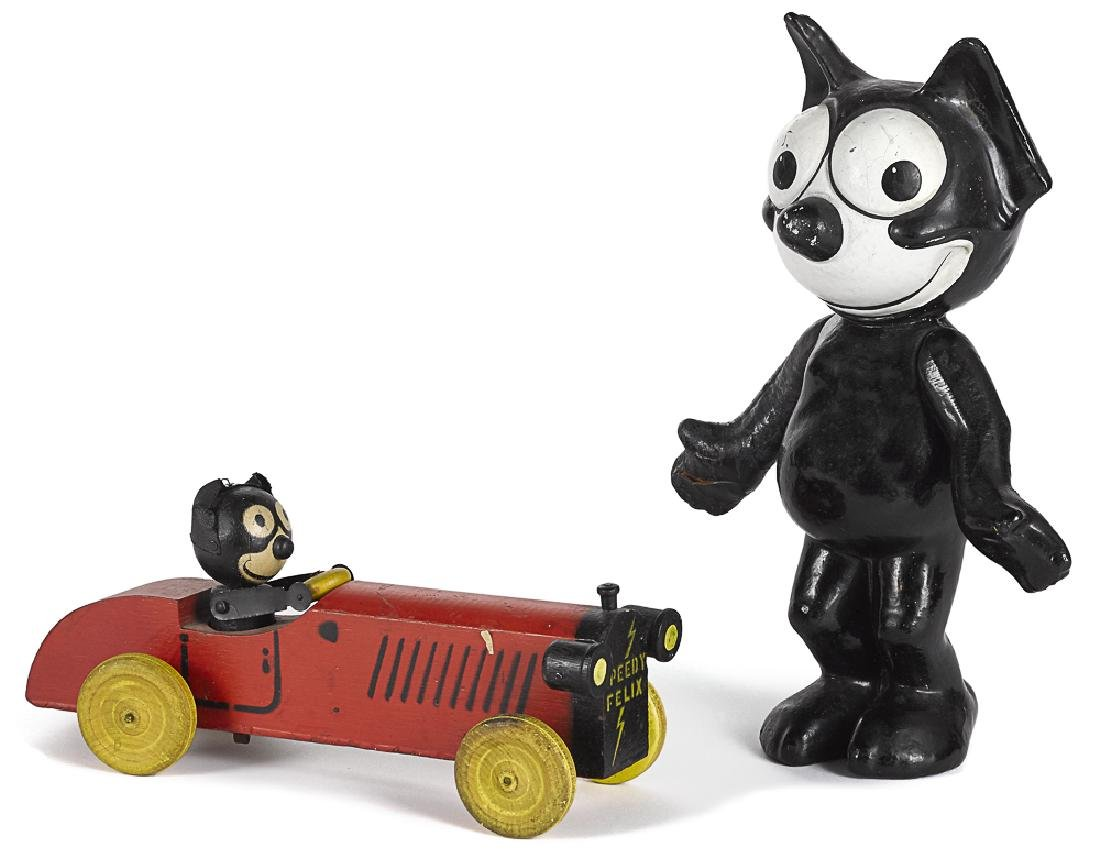 Speedy Felix the cat painted animated pull toy ca