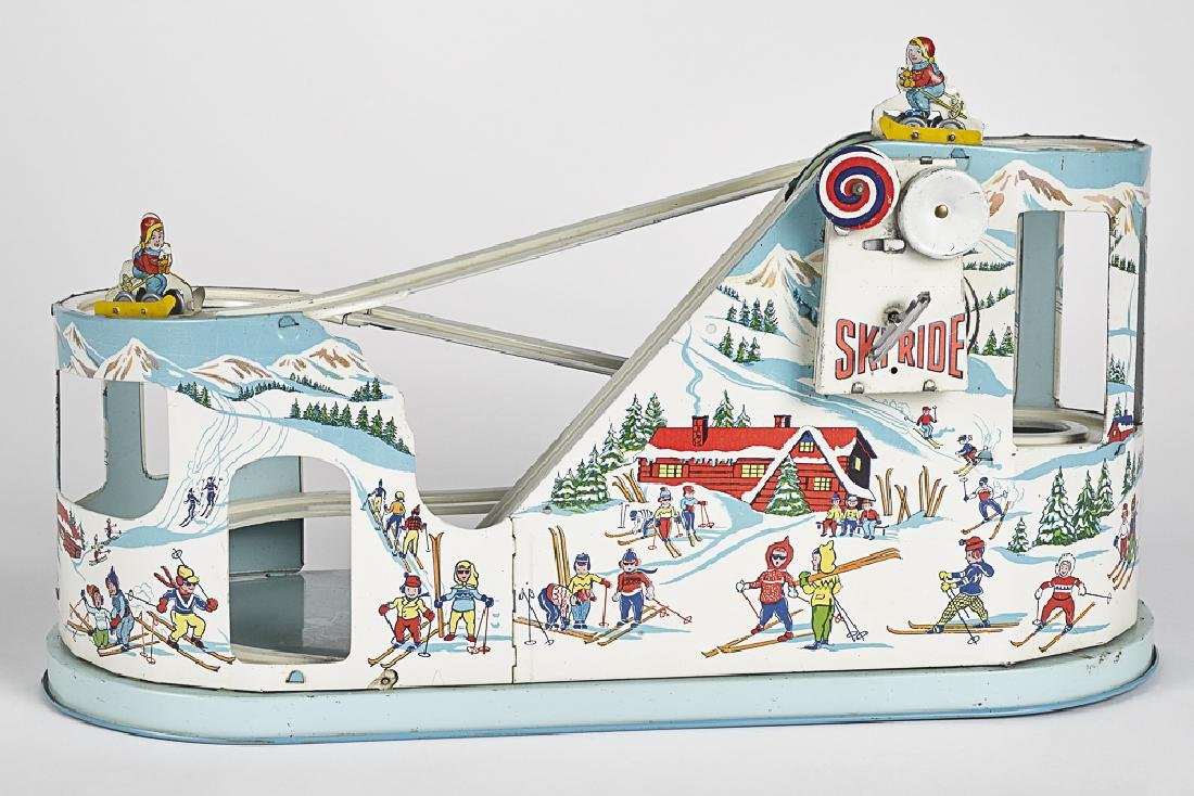 Chein tin lithograph wind-up Ski-ride toy