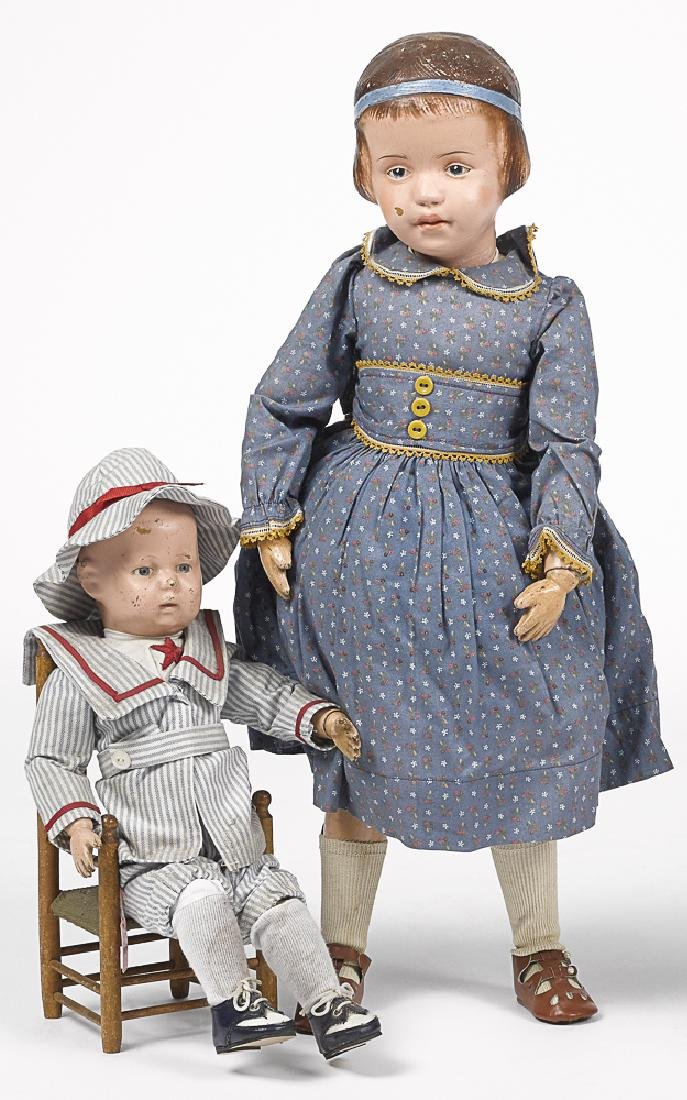 Two Schoenhut jointed wood dolls
