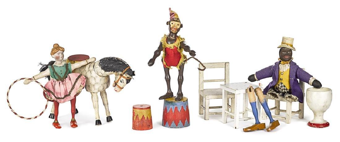 Ten piece Schoenhut painted wood circus group