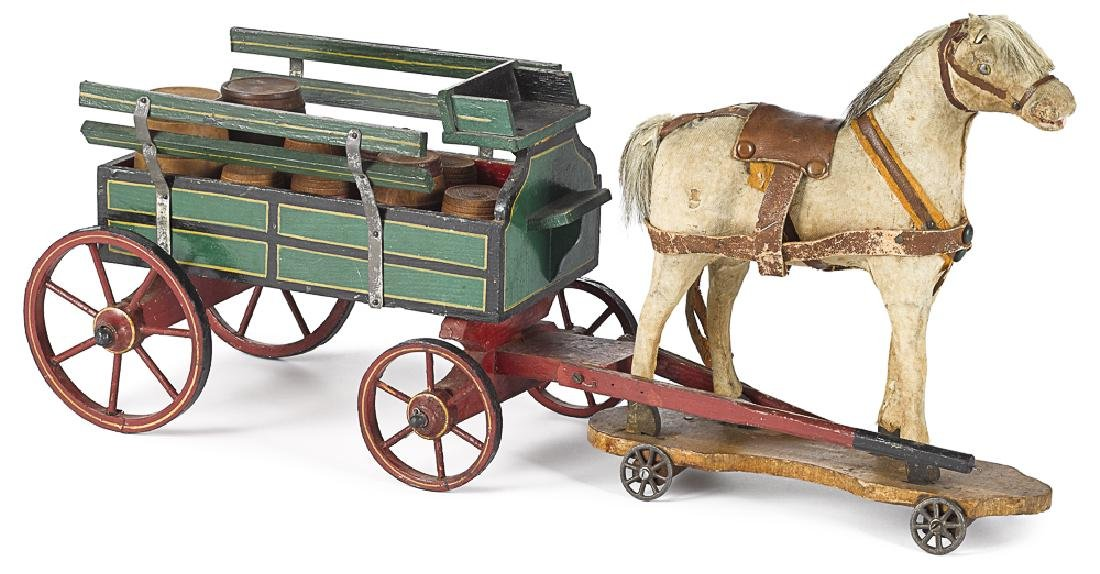 Painted brewery wagon with platform horse pull to