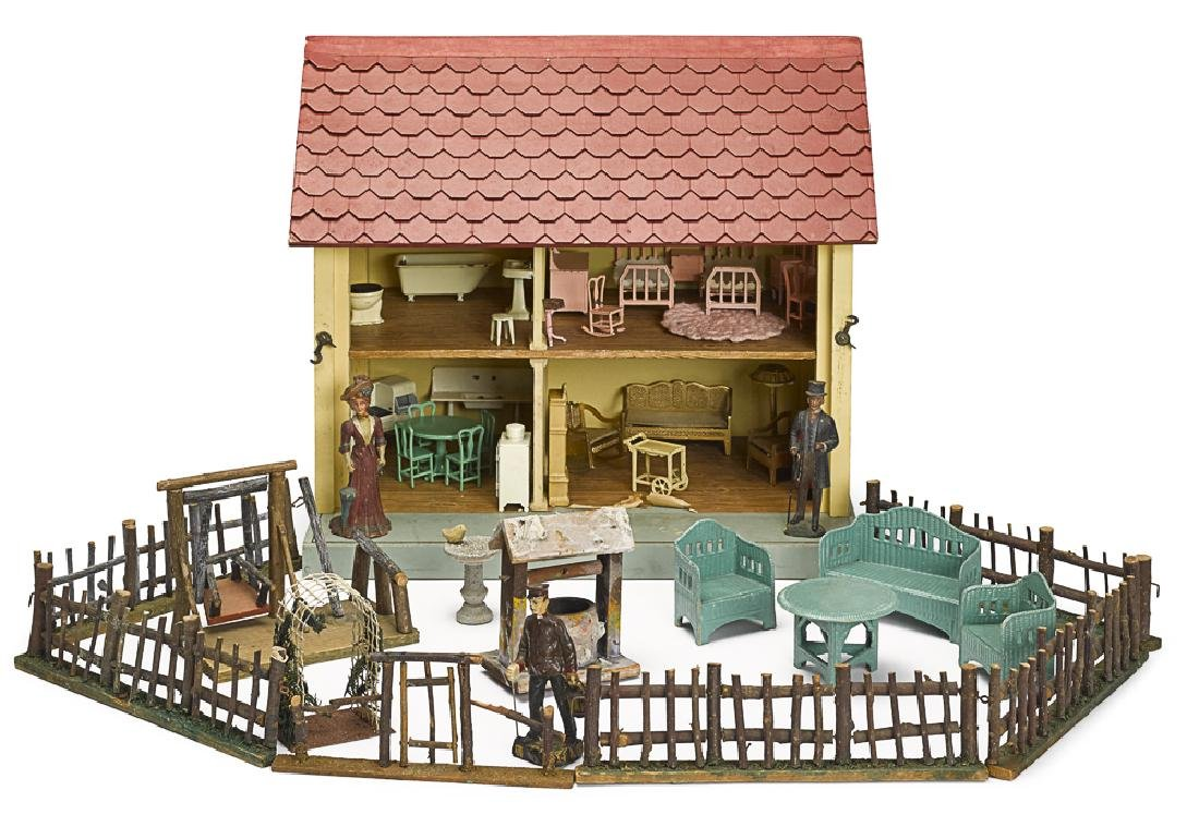 Schoenhut wooden dollhouse with accessories