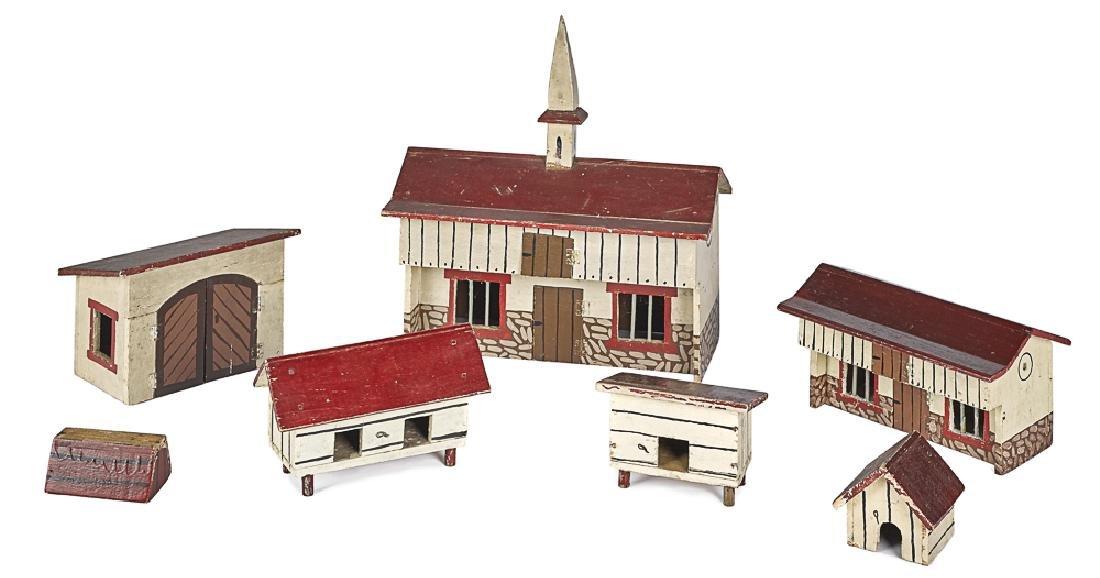 Painted wood farm set