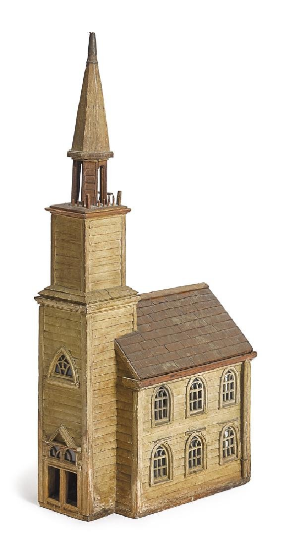 Nicely detailed painted wood church model