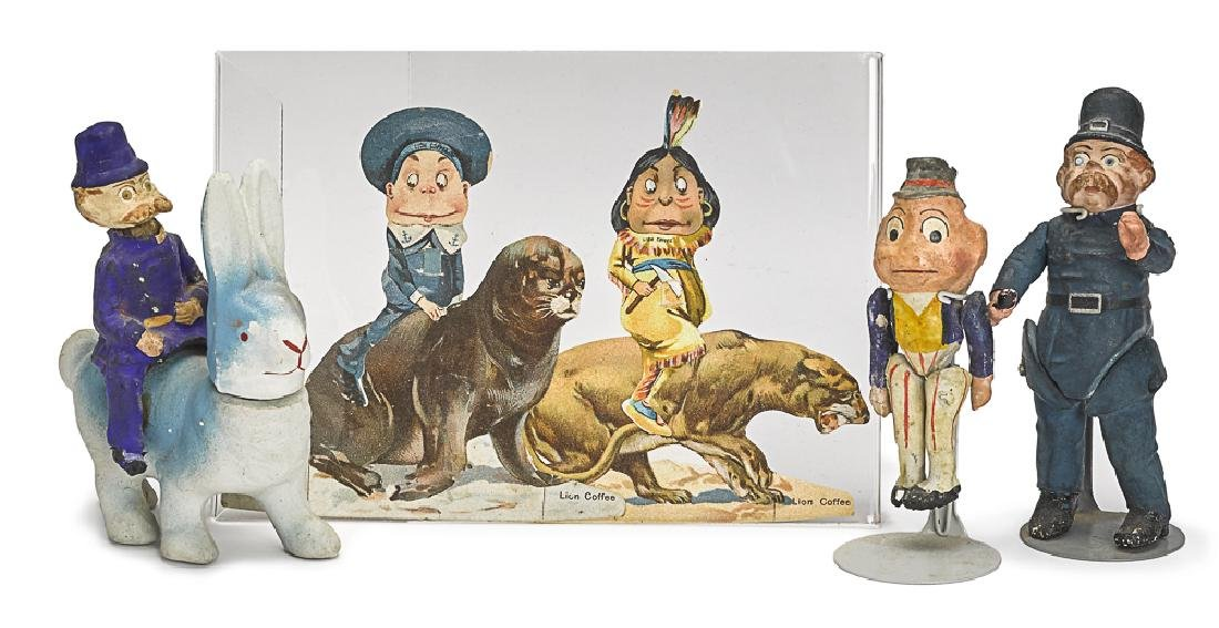 Three painted Palmer Cox Brownie figures