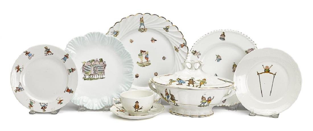 Nine pieces of Palmer Cox Brownie porcelain