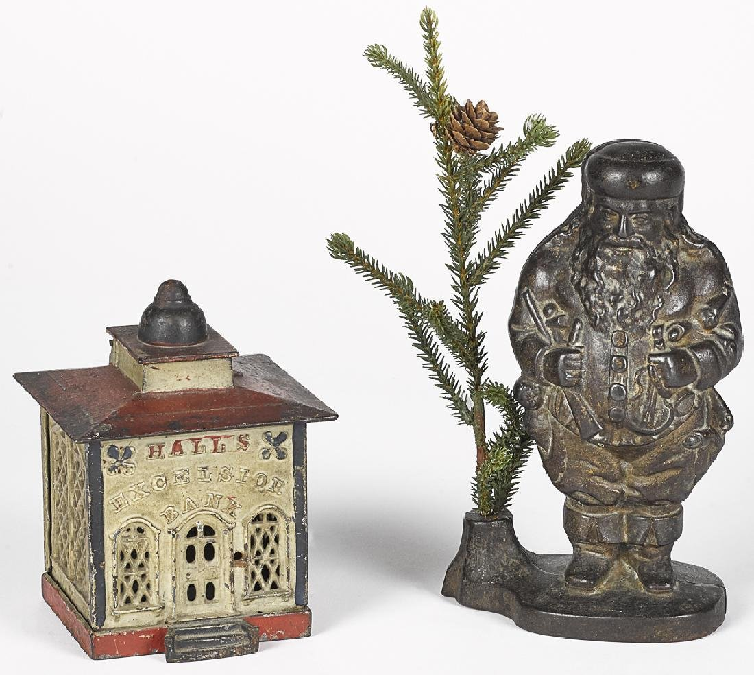 Two cast iron banks