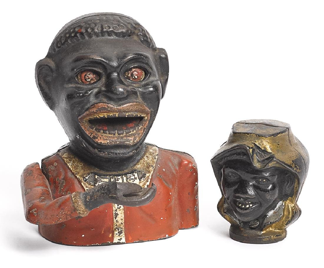 Two Black Americana cast iron banks