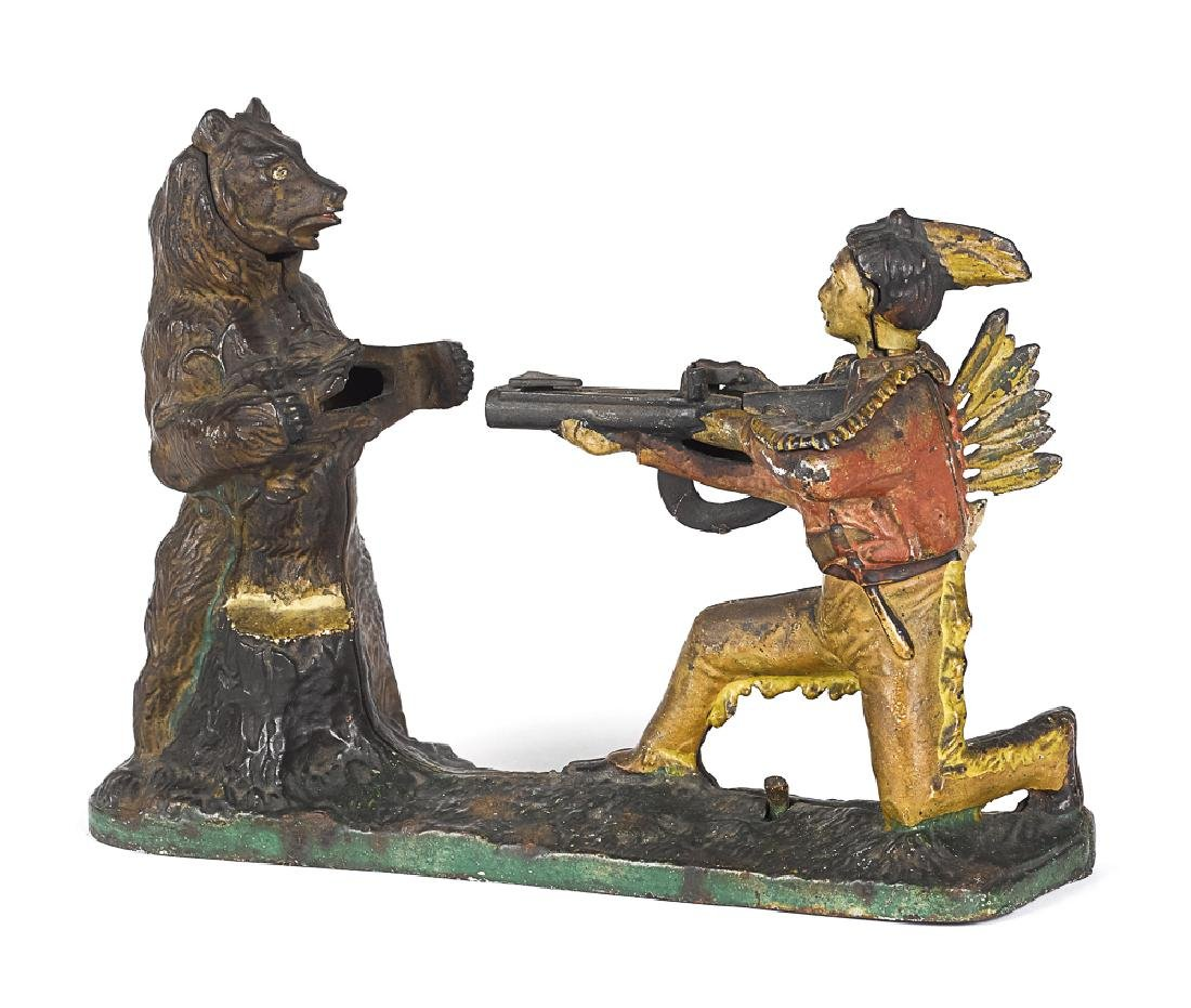 J. E. Stevens cast iron Indian mechanical bank