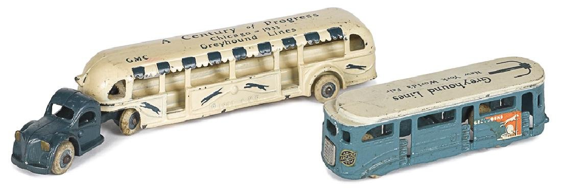 Two Arcade cast ironNew York Worlds Fair busses