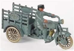 Hubley cast iron Traffic Car motorcycle trike