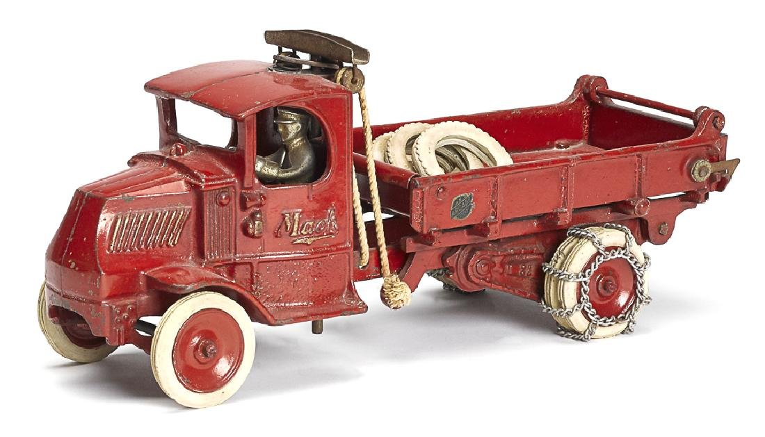 Arcade cast iron Mack T-bar dump truck