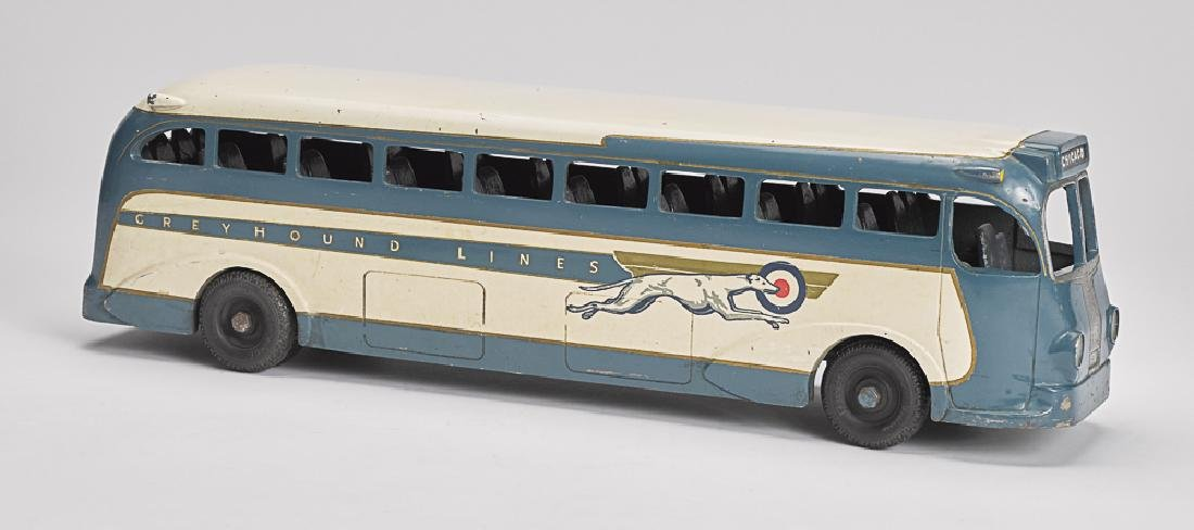Large pressed steel Greyhound bus