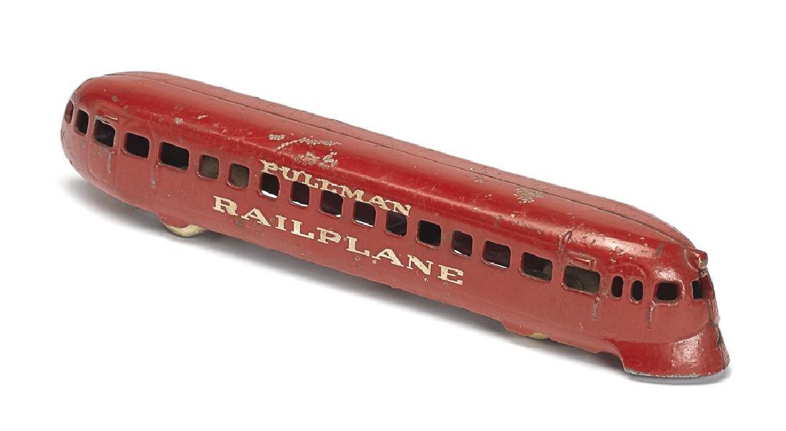 Arcade cast iron Pullman Rail plane train car
