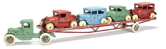 Arcade cast iron Ford model A car carrier