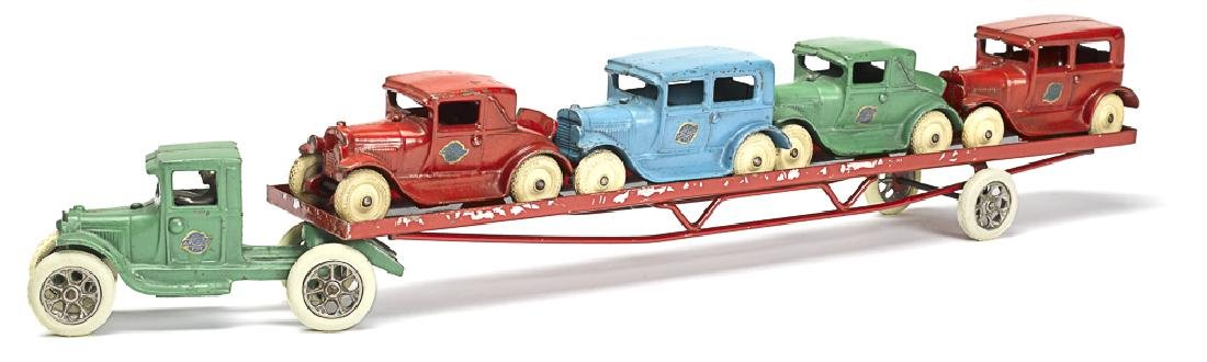 Arcade cast iron Ford model A car carrier