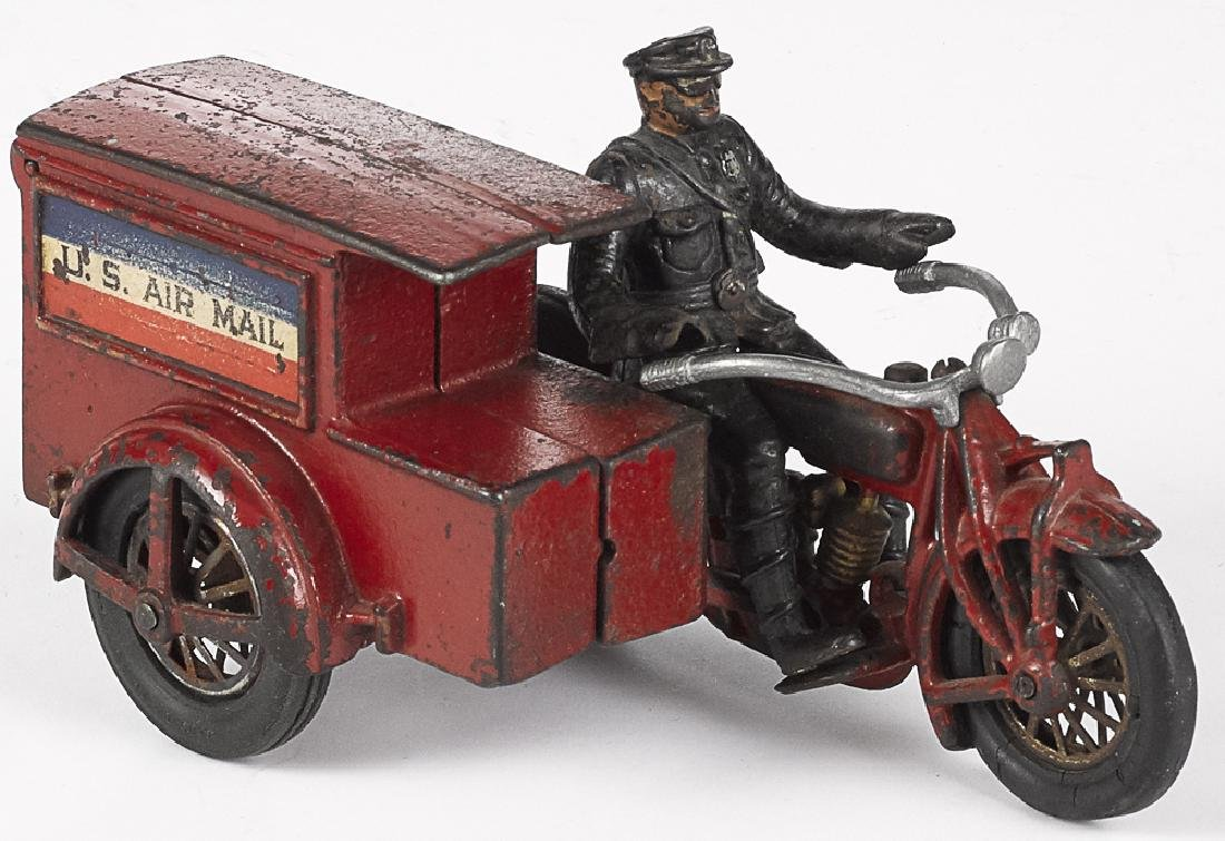Hubley cast iron US Air Mail delivery motorcycle