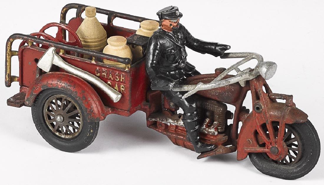Large Hubley cast iron Indian Crash Car motorcycl