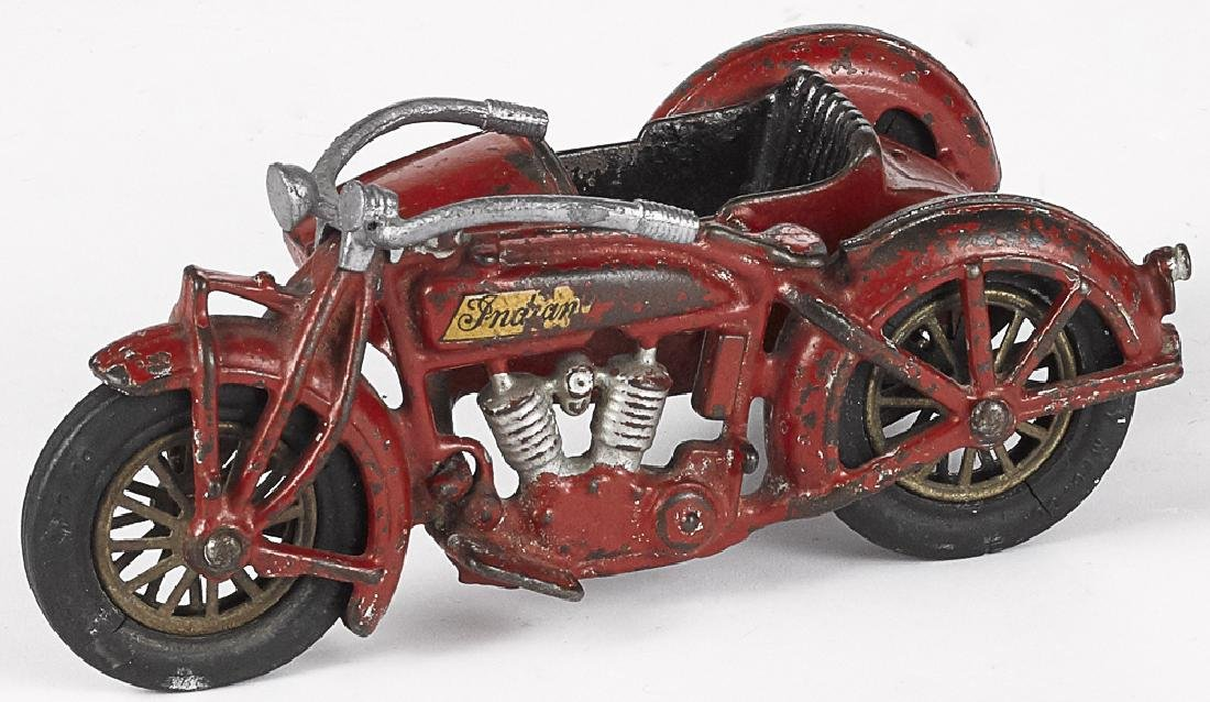 Hubley cast iron Indian motorcycle with sidecare
