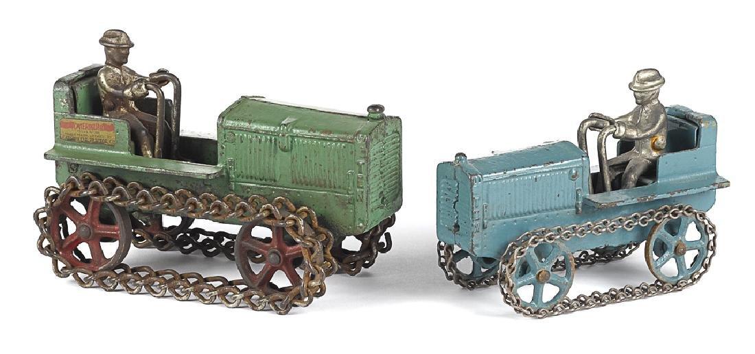 Two Arcade cast iron Caterpillar Ten tractors