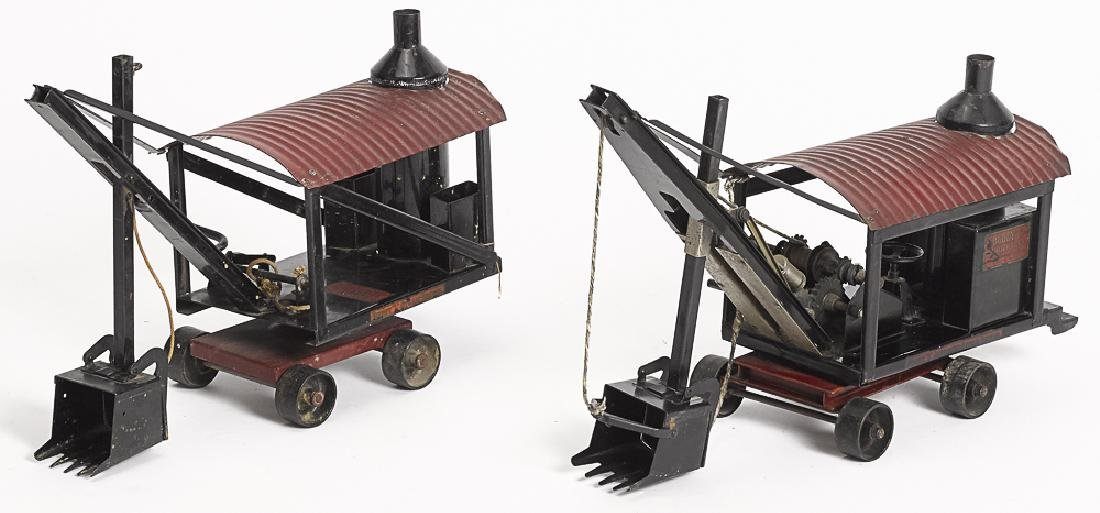 Two Buddy L pressed steel steam shovels