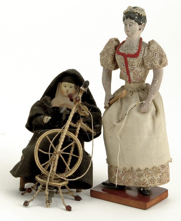 5: Lot: Early Papier Mache Lady and Wooden Nun with Spi