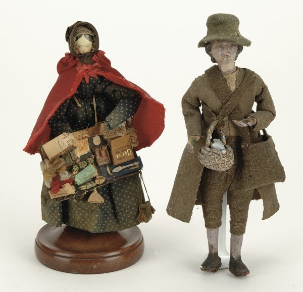 11: Lot: 2 Peddler Dolls including Wooden Lady and Carv