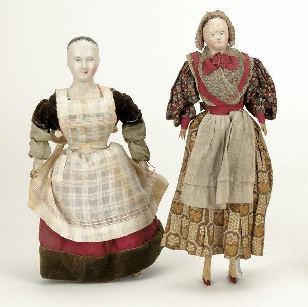 12: Lot: 2 French Papier Mache Ladies with Original Clo