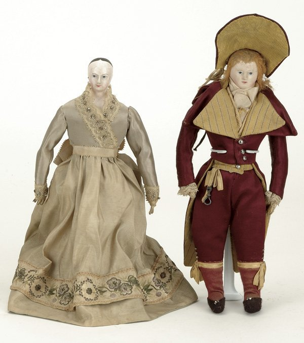 13: French Papier Mache Gentleman and Lady