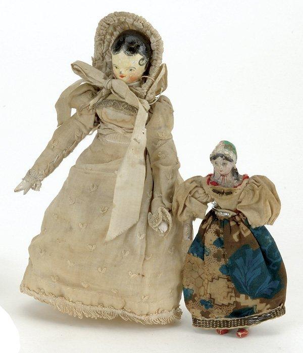 16: Lot: Papier Mache Lady with Bonnet and a Peg Wooden