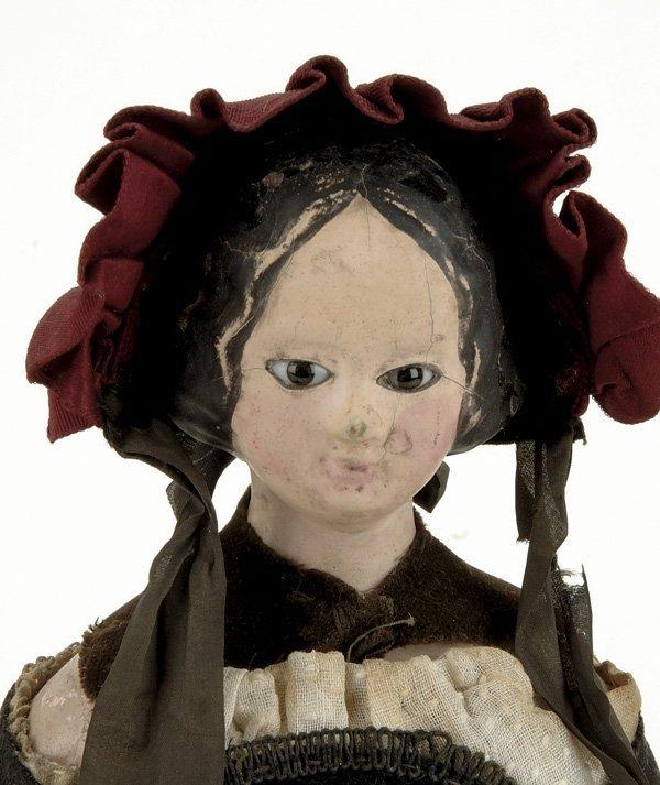 21: Early Glass Eyed Papier Mache Lady in Regional Cost