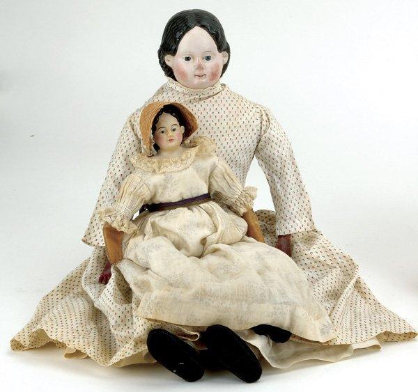 24: Lot: 2 Greiner Papier Mache Dolls