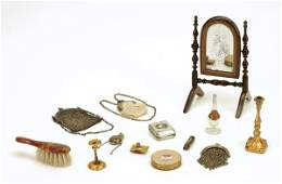 325: Lot: Miniature Items including Mirror and Purses