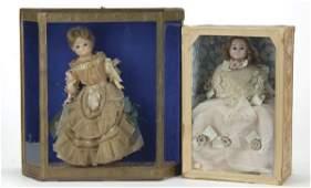 536: Lot: 2 Wax Dolls in Cases
