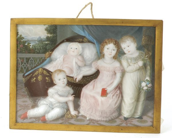 622: Continental Family Portrait Miniature on Ivory of