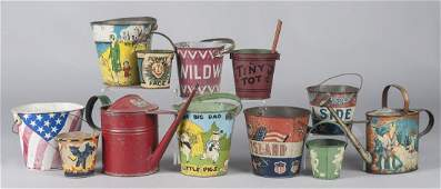 Collection of ten tin litho sand pails etc