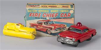 Marx battery operated tin litho Fire Chief Car