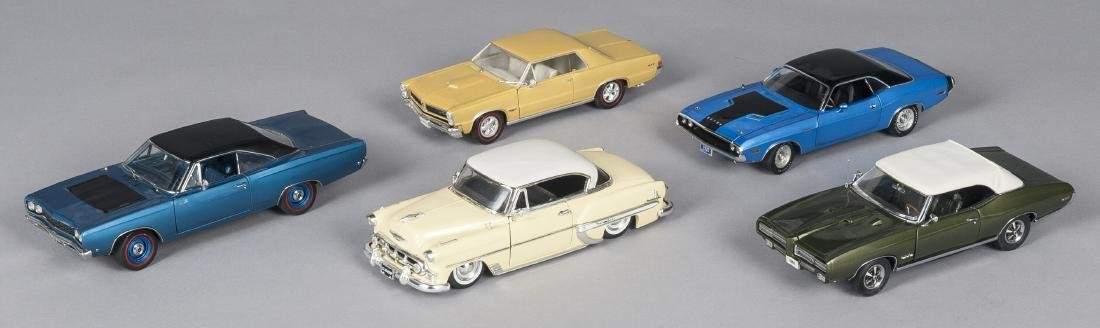 Five contemporary scale model cars