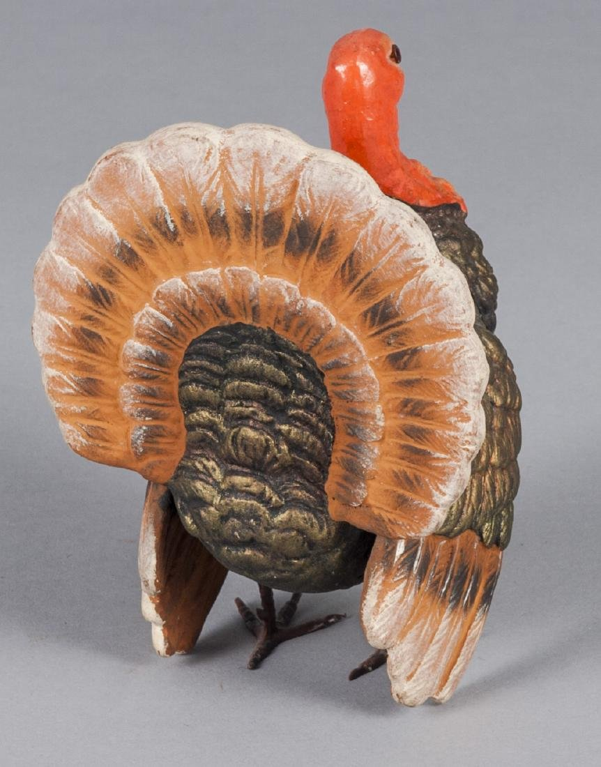 Painted composition turkey candy container - 2