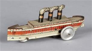 German tin litho ship penny toy