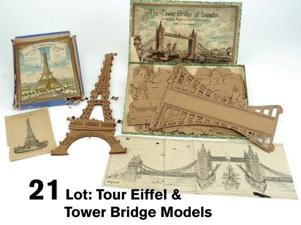21: Lot: Tour Eiffel & Tower Bridge Models